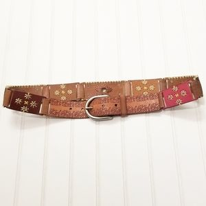 Fossil Boho Multicolored Stamped Leather Belt Sz S